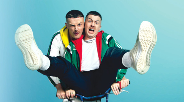 Chris Walley (left) as Jock O'Keeffe and Alex Murphy as Conor MacSweeney in The Young Offenders