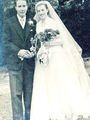 Young love: Margaret and Sam Baxter on their wedding day