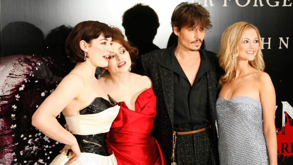 Jayne at the London premiere with co-stars Laura Michelle Kelly, Helena Bonham Carter and Johnny Depp