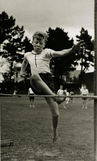 Taking off: Paddy Ashdown doing the high jump at Garth House School, Bangor in 1950