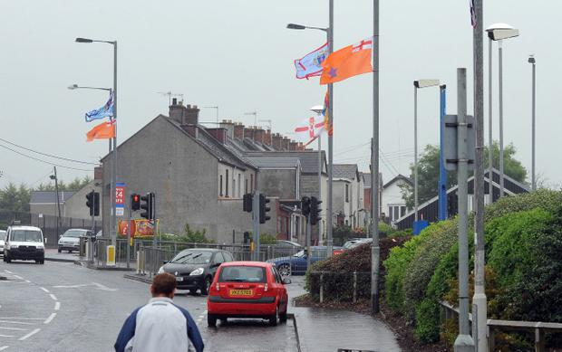 ©Press Eye Ltd Northern Ireland - 21st  June  2012General views of Carrickfergus where a row has developed over the amount flags in the town and especially around the Woodburn road area where the chapel and St Nicholas primary schools is located.Mandatory Credit - Picture by Presseye.com