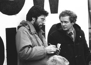 Commemoration of Bloody Sunday march in Derry. Gerry Adams and Martin Maguiness are pictured.  Pacemaker Press Intl.  30/1/83.