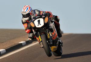 Steve Plater setting the fastest time during Tuesday night's practice session at the Relentless North West 200