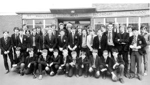 Off on a 12-day coach tour of Europe is this party of 48 boys and four teachers from St. Augustine's High School, Ravenhill Road, Belfast. During their holiday they will visit Holland, Germany, Switzerland and France, 1982.