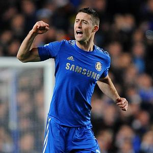 Gary Cahill celebrates scoring Chelsea's second goal of the game