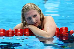 LONDON, ENGLAND - AUGUST 03:  Rebecca Adlington of Great Britain reacts after finishing third in the Women's 800m Freestyle Final on Day 7 of the London 2012 Olympic Games at the Aquatics Centre on August 3, 2012 in London, England.  (Photo by Paul Gilham/Getty Images)