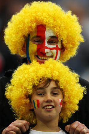 DUNEDIN, NEW ZEALAND - SEPTEMBER 24:  Fans enjoy the atmosphere ahead of the IRB 2011 Rugby World Cup Pool B match between England and Romania at Otago Stadium on September 24, 2011 in Dunedin, New Zealand.  (Photo by Warren Little/Getty Images)