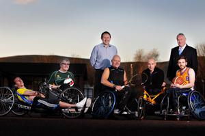 Local heroes in disability sports: (from left) David Kerr, Bernard Rooney, Stafford Lynn, Jim Corbett and Johnny McCarthy pictured with Steven Beacom (centre), Belfast Telegraph sports editor, and John Spottiswoode (right) managing director of Disability Needs Ltd.