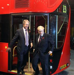 Secretary of State for Northern Ireland Owen Paterson (left) and London Mayor Boris Johnson with a life-size mock-up of the new bus