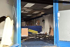 Alliance party office which was set on fire in Carrickfergus after a protest rally over the Union flag