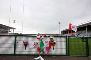 Tributes left at Ulster Rugby's home ground Ravenhill for Nevin Spence and his family.