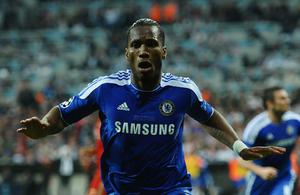 MUNICH, GERMANY - MAY 19:  Didier Drogba of Chelsea celebrates after scoring his teamÄôs first goal during UEFA Champions League Final between FC Bayern Muenchen and Chelsea at the Fussball Arena Mvºnchen on May 19, 2012 in Munich, Germany.  (Photo by Laurence Griffiths/Getty Images)