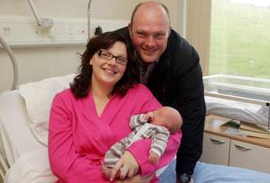 Northern Ireland- 12th September 2012 Mandatory Credit - Photo-Jonathan Porter/Presseye.  New born babies at the Ulster Hospital in Dundonald, Co. Down.  Julie and Darren Canmore with their son Rory.