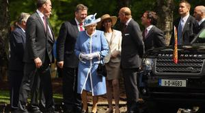 Queen arrives to visit the Irish National Stud in County Kildare on May 19, 2011 in Kildare, Ireland.