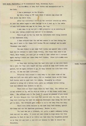 A page of the document written by Laura Francatelli, which is her eyewitness account of the sinking of the Titanic