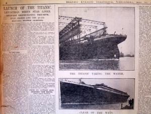 Launch of the Titanic, published in the Belfast Telegraph 31/5/1911