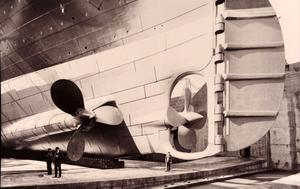 A photo of the Titanic's giant propellers and rudder. Photograph © National Museums Northern Ireland. Collection Harland & Wolff, Ulster Folk & Transport Museum