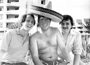 Sheltering under his sombrero is Paul Duffin along with Norman Redshaw and Gordon Ballantyne from Larne. 26/06/1982