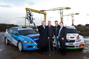 Principal Circuit of Ireland sponsor Terence Donnelly (Donnelly Group), First Minister Peter Robinson, 2009 IRC champion Dungannon's Kris Meeke and Rally director Bobby Willis at the launch