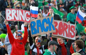 Russia fans show there support in the stands during the IRB Rugby World Cup match at the Rotorua International Stadium, Rotorua, New Zealand.