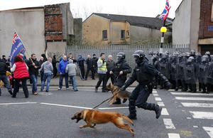 PSNI officers on the Lower Newtownards after a Loyalist flag protest at Belfast City Hall