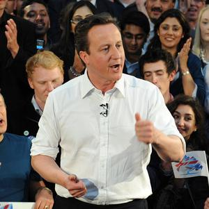 Conservative leader David Cameron at a rally of supporters in Birmingham following the final live leaders' election debate