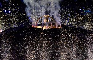 LONDON, ENGLAND - AUGUST 29: Igniting the 'big bang' during the Opening Ceremony of the London 2012 Paralympics at the Olympic Stadium on August 29, 2012 in London, England. (Photo by Justin Setterfield/Getty Images)
