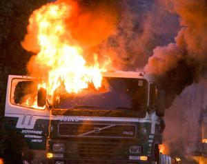 Burning vehicles in Lurgan this evening as locals go on the rampage after 3 local men were jailed in Belfast today for terrorist offences.