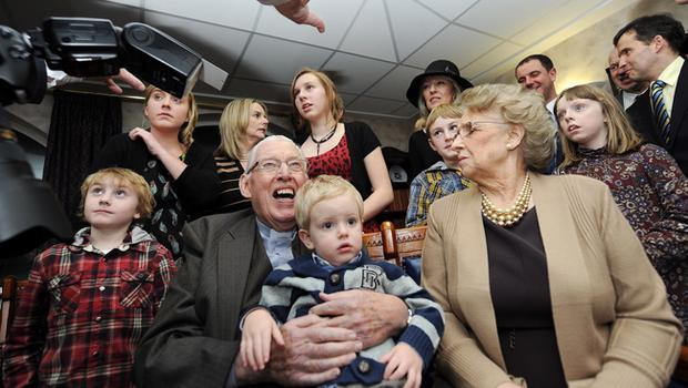 27/1/12 PACEMAKER BELFAST.  The Rev. Ian Paisley poses with his wife Baroness Paisley and their children and grandchildren before  the Special Farewell Service in his honour after 65 years of Ministry at the Martyrs Memorial Church, on the Ravenhill Road, Belfast. Picture CHARLES MCQUILLAN/PACEMAKER