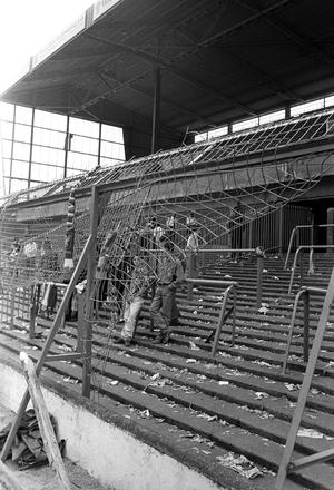 Bent and twisted fencing at Hillsborough in the aftermath of the tragedy