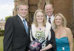 Lauren Dugan from Newtownards graduated from Queen's University with a First Class Honours degree in Criminology. Lauren, pictured with her brother Grant (left), Dad Kenneth adn Mum Maud (right). Lauren decided to study Criminology after Grant was assaulted in Newtownards on Christmas Eve in 2005.  Lauren is one of Northern Ireland's top ten-pin bowlers, while Grant is her coach. The pair will travel to Helsinki later this summer where she will represent Northern Ireland in ten-pin bowling at the World Youth Championships.