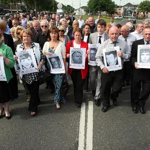 Relatives of those shot dead on Bloody Sunday, marching in silence in Londonderry