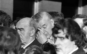 PACEMAKER PRESS INTL. BELFAST.  Funeral of Kenneth Campbell who was shot dead  at the Finaghy Health Centre with Robert Bradford MP. Ian Paisley is pictured crying. 17/11/81.1120/81/bw