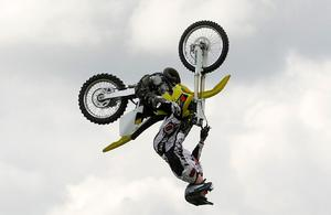 Extreme Motocross riders perform tricks in the Grandstand at the Balmoral Show