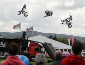 Extreme Motocross riders perform tricks in the Grandstand