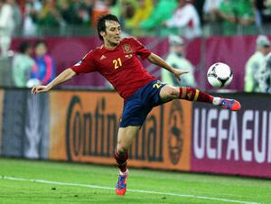 GDANSK, POLAND - JUNE 14:  David Silva of Spain controls the ball during the UEFA EURO 2012 group C match between Spain and Ireland at The Municipal Stadium on June 14, 2012 in Gdansk, Poland.  (Photo by Alex Grimm/Getty Images)