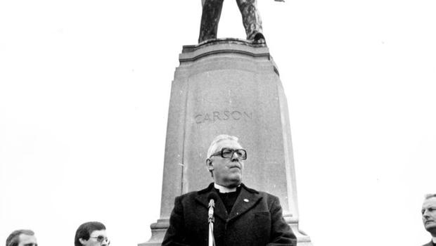 The Reverend Ian Paisley speaking at a ceremony held at Stormont to celebrate the 50th anniversary of the death of Edward Carson. October 1985