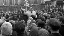A crowd of students pictured at a meeting with Ian Paisley (centre) near Belfast City Hall.  9/10/1968.