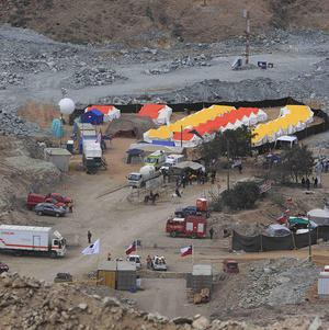The camp where the relatives of 33 trapped miners are waiting in Copiapo, Chile