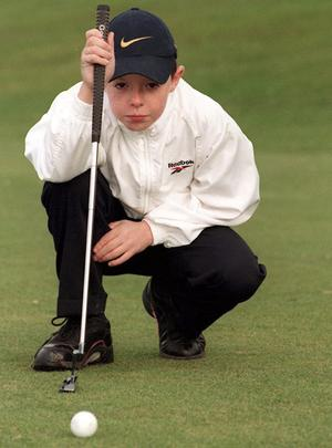 Ten year old Rory McIlroy,  gets in a practice round at Holywood Golf Club,Co. Down