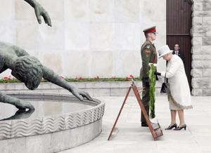 Queen Elizabeth II during the wreath laying ceremony at the Garden of Remembrance  in Parnell Square, Dublin on the first day of  her State Visit to Ireland.