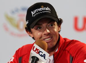 SAN FRANCISCO, CA - JUNE 12:  Rory McIlroy of Northern Ireland speaks with the media during a practice round prior to the start of the 112th U.S. Open at The Olympic Club on June 12, 2012 in San Francisco, California.  (Photo by Scott Halleran/Getty Images)