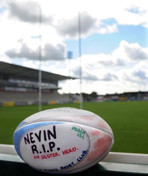 Ravenhill Rugby Club on the day of the Spence funerals. Photograph by Declan Roughan