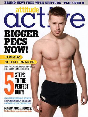 BBC weatherman Tomasz Schafernaker on the cover of Attitude Active magazine