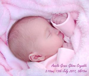 "Amelia Grace Gibson Crymble, born 3:10am 13th July 2011 to Michelle Gibson and Keith Crymble. <p><b>To send us your Baby Pics <a href=""http://www.belfasttelegraph.co.uk/usersubmission/the-belfast-telegraph-wants-to-hear-from-you-13927437.html"" title=""Click here to send your pics to Belfast Telegraph"">Click here</a> </a></p></b>"