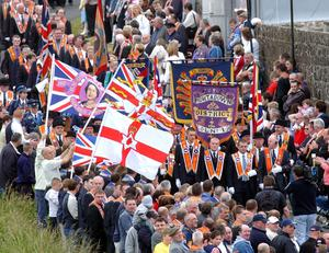 Portadown March at Drumcree bridge July 2002 Portadown District Orangemen parade down to the barrier at Drumcree before trouble flared