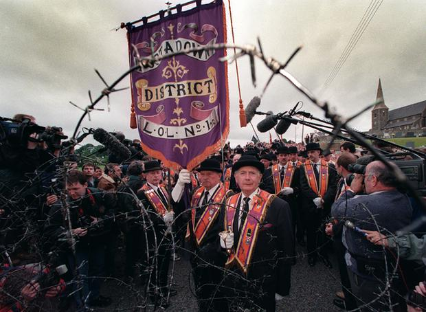 Orangemen go no further as they reach the barrier at Drumcreee preventing them from marching on the Garvaghy Rd.