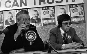 PACEMAKER PRESS INTL. BELFAST. Rev Ian Paisley announcing European Manefests at Party Headquarters. He is pictured with Peter Robinson. 23/5/79105/79/bw