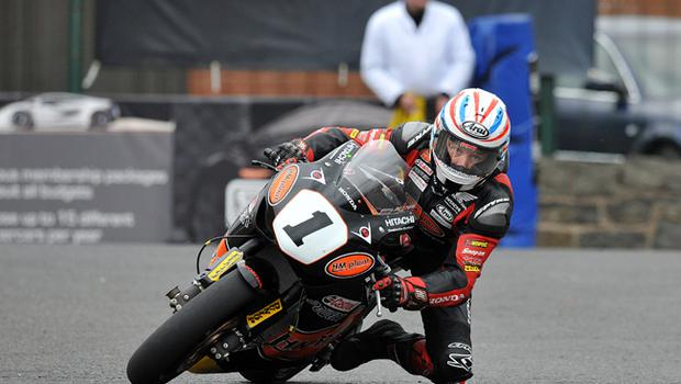 Steve Plater races around Metropole before crashing on his final lap during practice ahead of this weekend's North West 200