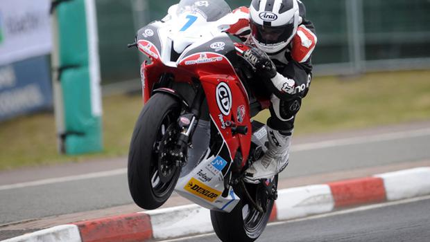 William Dunlop (CD Racing Yamaha) in action during Thursday's practice for the Relentless North West 200